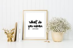 What do you mean by Justin Bieber. PRINTABLE ART. Instant Download. Black and White. Typography Digital Art. by NushaPinkboxPrints on Etsy