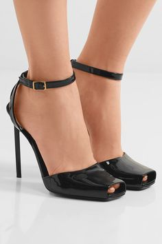 Saint Laurent | Edie patent-leather sandals | NET-A-PORTER.COM