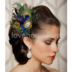 Peacock Feather Fascinator Hair Clip Wedding Bride Costume Party 1920S
