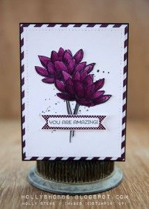 hand crafted card by Holly Stene ... color challenge: CYCI#78: black and white plus one color ... luv the deep purple flowers for You've Got This  and the diagonal stripes of black white of the mat layer ... Stampin' Up!