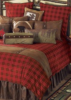 Rustic Bedding, Cabin Bedding & Lodge Bedding Sets Gunnison Plaid Log Cabin Bedding would look good in spare room :-)
