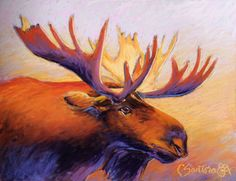 Bragging Rights - pastel moose painting - click to see larger image Larger, Moose Art, Pastel, Painting, Animals, Image, Draw, Cake, Animales
