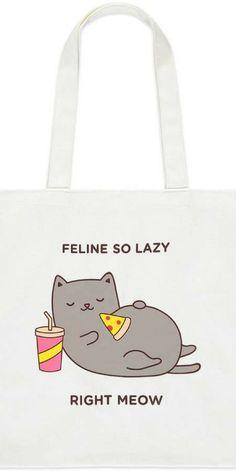 Feline So Lazy Graphic Tote