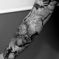 Guys Full Sleeve Guys Grey Greek God Tattoo