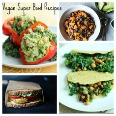 10 VEGAN RECIPES FOR SUPER BOWL ENTERTAINING Red Peppers Stuffed With Confetti Guacamole Sweet Potato Edamame Burgers With Ginger And Lime Spicy Sweet Potato ANd Black Bean Chili Zucchini And Quinoa Burgers Smoky Southwestern Hummus Tortillas With Creamy Kale And Toasted Chickpeas Raw Vegan Zucchini Sticks Hoppin John Salad Creamy Roasted Beet Hummus Vegan Shepherd's Pie