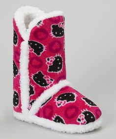 Take a look at this Black & Pink Heart Dot Hello Kitty Boot Slipper - Kids by Hello Kitty on #zulily today!