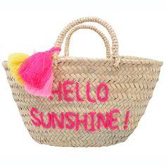 """hello sunshine"" embroidered pom pom basket by Rose in April Baby Baskets, Wicker Baskets, Diy Fashion, Fashion Bags, Beach Basket, Pom Pom Crafts, Basket Bag, Crafty Projects, Hello Sunshine"