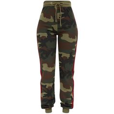 Shape Camo Side Stripe Joggers ($40) ❤ liked on Polyvore featuring activewear, activewear pants and pants