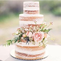 Wedding Cakes Naked Wedding Cake with Pink Flowers and Greenery. A country-chic naked wedding cake by Sprinkle Wedding Cake Photos, Wedding Cake Rustic, Rustic Cake, Cake Wedding, Wedding Country, Wedding Vows, Wedding Reception, Flowers On Wedding Cake, Wedding Venues