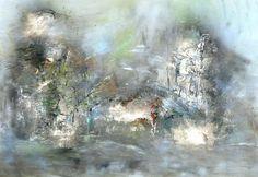 Le clocher - Etude - Painting,  146x114 cm ©2007 par Muriel Cayet -  Peinture