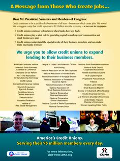 MBL Open Letter ad to Congress that demonstrates the bipartisan support, from numerous organizations, that credit unions have in favor of raising the member business lending cap with S. 2231 and H.R. 1418