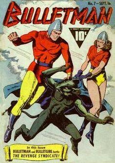 Bulletman (Fawcett) - Comic Book Plus Comic Book Artists, Comic Book Heroes, Comic Books Art, Comic Art, Caricature, Captain Marvel Shazam, Bd Comics, Vintage Comics, Vintage Books