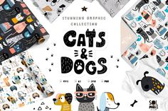 Vector: Cats&Dogs graphic collection by solmariart, 15 USD. Absolutely stanning graphic collection with funny and creative cats and dogs! Vector Pattern, Pattern Art, Pattern Design, Pattern Blocks, Graphic Patterns, Cool Patterns, Graphic Design, Graphic Art, Cute Cats And Dogs
