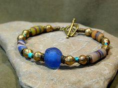 Mens African Beaded Bracelet Guys Jewelry by StoneWearDesigns