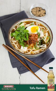 Get restaurant-worthy noodles at home with this Tofu Ramen featuring NAKANO® Organic Original Seasoned Rice Vinegar. Tender pieces of tofu are combined with chopped kimchi, shaved zucchini and yellow squash for a lighter take on this authentic dish. Fresh ginger, soy sauce and spicy gochujang make each sip of this super savory broth totally irresistible.