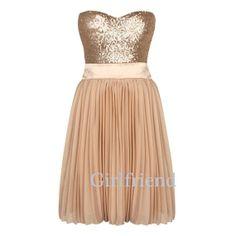 Amazing elegant short handmade chiffon prom dress,  party dress with golden sequins on Etsy, $188.90