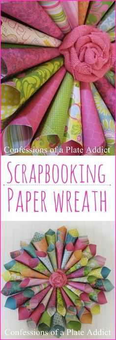 Easy Scrapbooking Paper Wreath - Lilly is Love Wreath Crafts, Diy Wreath, Paper Wreaths, Wreath Ideas, Paper Garlands, Paper Decorations, Cute Crafts, Diy Crafts, Geek Crafts