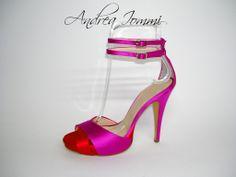 #scarpedasposacolorate sandalo con platform (2 cm) in raso rosso e fuxia. #tacco10 cm  www.andreaiommi.it