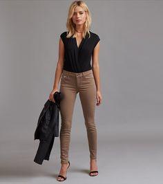 Kate Colored Skinny Jeans with Zip Colored Skinny Jeans, Moto Jacket, Skinny Legs, Capri Pants, Khaki Pants, Zip, Denim, Tees, Model