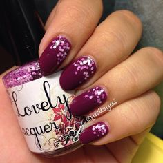 Purple glitter gradient nails. Lovely Lacquer.
