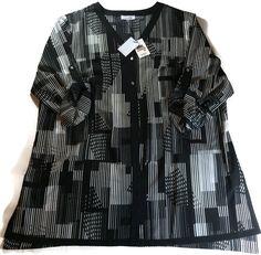 Calvin Klein BLACK WHITE BLOUSE Plus 2X Print Button Up Shirt Top NWT$89.50 #CalvinKlein #ButtonUpShirtBlouseq