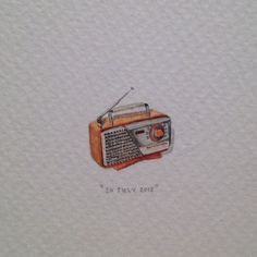 Day 197 : Happy birthday to lovely radio lady, Jane Linley-Thomas  (from your husband Mike, who just couldn't manage to keep it a surprise ) 18 x 17 mm. #365paintingsforants #miniature #watercolour #vintage #radio (at Hemel En Aarde Estate)