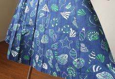 Vintage 80's Skirt, Novelty Print with Seashells  by momodeluxevintage $29