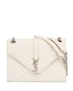 b0db40297ea3 Saint Laurent V Flap Monogram Medium Envelope Shoulder Bag w/ Silvertone  Hardware