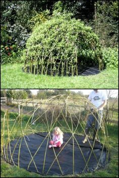 Also known as a bean teepee and similar to a willow playhouse, this DIY project is very easy to make. From Lifeoutdoor