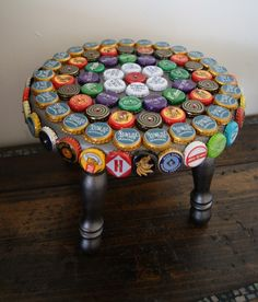 For evenings when you want to put your feet up and have a beer. Great bottle cap footstool