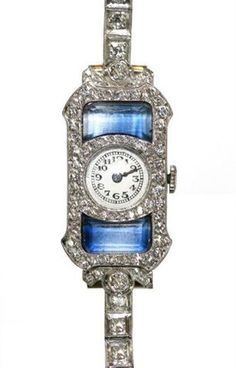 Art Deco Diamond & Sapphire Watch