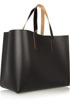 Marni|Large faux leather and leather asymmetric tote|NET-A-PORTER.COM