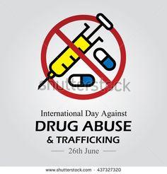 Vector illustration for International Day against Drug Abuse. - stock vector