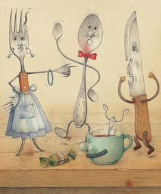 Kitchen Table Food Art Print featuring the painting Argument by Kestutis Kasparavicius Art And Illustration, Tee Kunst, Kitchen Drawing, Canvas Art, Canvas Prints, Tea Art, Whimsical Art, Fine Art America, Art Drawings