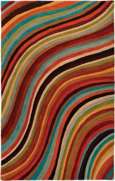 wavy stripes, wool rug. Surya Oasis OAS-1007 Rust / Sky by Rugs Direct (USA) 8' x 11' under $1100. A cheaper option to the Paul Smith version.