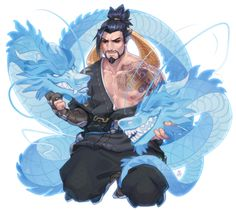 """""""And we start to play Overwatch! More fan arts. Hanzo one of our favorites. Overwatch Hanzo, Overwatch Comic, Overwatch Fan Art, Overwatch Memes, Hanzo Dragon, Character Concept, Character Design, Hanzo Shimada, Overwatch Drawings"""
