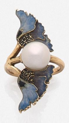 LALIQUE-Art Nouveau enamel and pearl ring