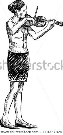girl playing the violin - stock vector