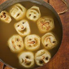 119 Creepy Halloween Food Ideas: shrunken head apple cider