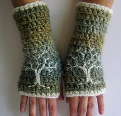Arm Warmers with Tree Design - Green, Blue, Cream - Fingerless gloves chunky warm embroidered
