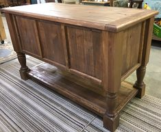 Kitchen Island - Turned Leg Cabinet- Buffet - Sideboard - Rolling Cart - Rustic & Reclaimed Barnwood - Butcher Block - Prep Table by RusticWoodWorX on Etsy Kitchen Island Bar, Farmhouse Kitchen Island, Rustic Kitchen, Farmhouse Decor, Farmhouse Style, Kitchen Ideas, Kitchen Design, Table Grill, A Table