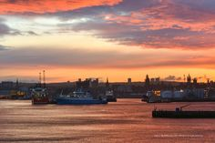 Aberdeen Harbour Sunset Glow
