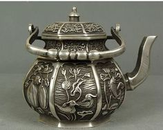 Collectable-Chinese-Copper-Carve-Lotus-Pond-beautiful-Scenery-old-Teapot