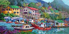 Past Work — Greta Grunow Guzek Canadian Painters, Canadian Artists, Boat Painting, House Painting, Emily Carr Paintings, Crow Totem, Sound Art, Boat Art, Painter Artist