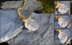 "Nouvelle Créa: Marie Wicca Série "" Magic Forest"" Beau Cristal de Quartz . DIM: 40x28mm Origine Pierre: chine Sertissage:Alliage Fait main.  Matières: Cristal de Quartz, Alliage plaqué or. Ref:0162"