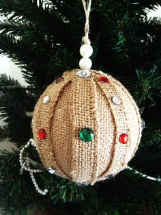 Burlap Ornament with Rhinestones. Cute Holiday Decoration for your Home and Christmas Tree!