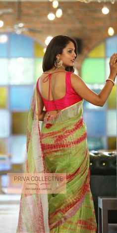 PV 3906 : Green tie dye lenin Price : 4400 Rs Flaunt this colourful tie and dye lenin sari in green and pink colours this festive season Unstitched blouse piece : Pink raw silk For Order Beautiful Girl Indian, Most Beautiful Indian Actress, Beautiful Saree, Saree Blouse Neck Designs, Fancy Blouse Designs, Saree Photoshoot, Saree Models, Saree Dress, Sari