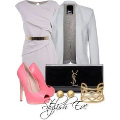 Grey dress and pink shoes - love the combo!
