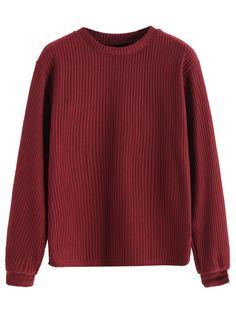 Burgundy Long Sleeve Ribbed Sweatshirt Mobile Site