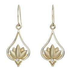 14 karat yellow gold and diamond Lotus drop earrings made by FireWorks Gallery Signature Design, Fireworks, Lotus, Wedding Bands, Engagement Rings, Drop Earrings, Gemstones, Yellow, Diamond